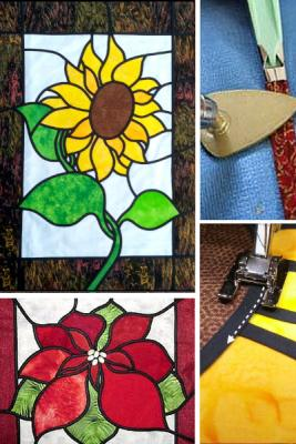 Learn stained glass applique skills by creating one of two projects - a poinsettia or sunflower