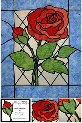 Everyone loves a red rose so treat yourself with this easy stained glass applique technique