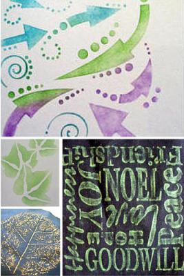 Experiment with Paintstiks on a variety of fabrics with assorted stamps, stencils and rubbing surfaces