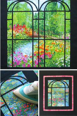 Super simple method for adding stained glass leading to the top of a landscape fabric